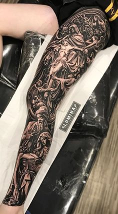 40 Tattoos on Male Leg for Inspiration - Pictures and T .- 40 Tattoos on . Juncha Tattoo, Ems Tattoos, Full Leg Tattoos, Forarm Tattoos, Badass Tattoos, Tattoos For Guys, Jesus Tattoo Sleeve, Aztec Tattoos Sleeve, Religious Tattoo Sleeves