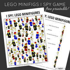 Minifigures Themed I Spy Game {Free Printable for Kids} - perfect counting activity for Lego fans!LEGO Minifigures Themed I Spy Game {Free Printable for Kids} - perfect counting activity for Lego fans! Spy Games For Kids, I Spy Games, Lego For Kids, Mini Games, Lego Party Games, Lego Parties, Lego Therapy, Lego Letters, Free Lego