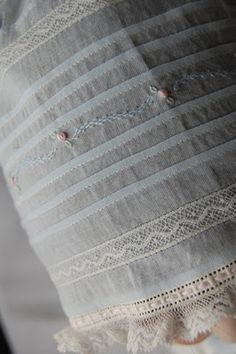 Tucks, hand embroidery, and French lace - Pretty edging for my embroidery quilt