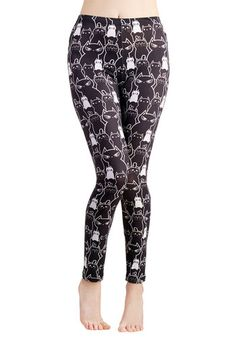 Kitty Crew Leggings - Knit, Black, Print with Animals, Casual, Kawaii, Quirky, Cats, Skinny, Black