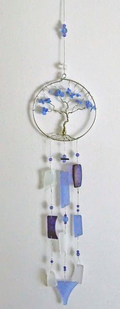 Recycled sea beach glass suncatcher windchime wind chime blues sculpture artist made