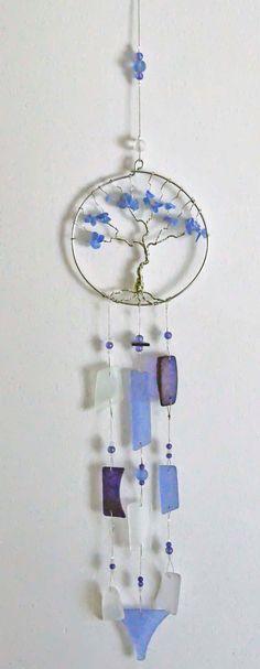Recycled sea beach glass suncatcher windchime wind chime blues sculpture artist made