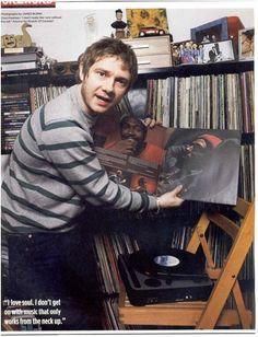 Martin Freeman and his amazing vinyl collection.