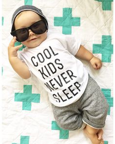 Cool Kids Never Sleep Baby or Toddler Tshirt by LittleBeansCo