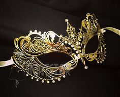 Laser Cut Venetian Mask Gold Masquerade Costume Ball Crystal Fancy Dress Prom | eBay