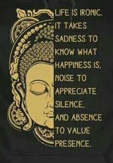 Life is ironic. It takes sadness to know what happiness is. Noise to appreciate silence, and absence to value presence.