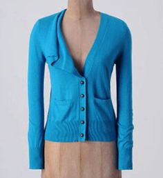 MOTH Anthropologie jewel toned blue sweater Climate Control Cardigan drape L