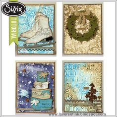 Sizzix Die Cutting Tutorial | Gesso Dry Embossing by Anna-Karin. Step-by-step dry embossing tutorial and six different Christmas cards made mainly with Tim Holtz dies and embossing folders, Ranger Distress Paint and Glitter.