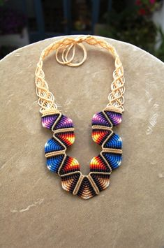 Necklace  | Martin and Ugne of ARUMIdesign. Handmade macrame necklace inspired by traditional tribal textile works.