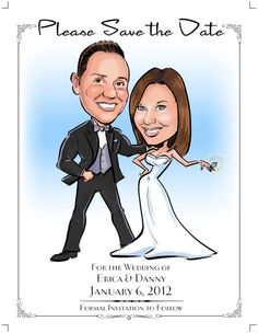 Wedding caricature Save-the-Dates by IllustrateTheDate on Etsy