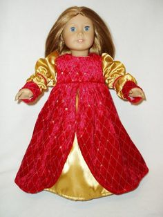 Renaissance Princess 18 inch doll clothes fits American girl Medieval    I love this Ren style dress!!  The red velvet fabric is beautiful!!  $120.00