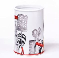 Vintage Style Kitchen Tools Utensil Crock Organizer, 7.5 Inches, Red, Black & White by 180 Degrees, http://www.amazon.com/dp/B0079B033M/ref=cm_sw_r_pi_dp_z07uqb0MVHZN0