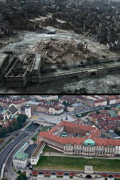 Royal Castle and Old Town area in Warsaw after WWII and now Then And Now Pictures, Europe Centrale, Warsaw Uprising, Poland History, Poland Travel, Warsaw Poland, Central Europe, World History, World War Two
