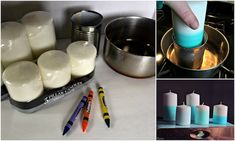 Intro candle making? Could be lots of fun! Dollar Store Crafts, Dollar Stores, Straw Wreath, Diy Ombre, Diy Chalkboard, Diy Mirror, Jewelry Stand, Diy Candles, Candle Making