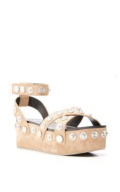 Ash Calf Suede Sandrah Wedge Sandals by ALEXANDER WANG for Preorder on Moda Operandi