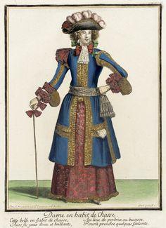 Recueil des modes de la cour de France, 'Dame en Habit de Chasse'  Nicolas Bonnart (France, 1637-1717)  France, Paris, 1670  Prints  Hand-colored engraving on paper