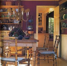 Burgundy dining room Pine Furniture, Dining Furniture, Burgundy Walls, Dining Area, Dining Room, Pine Table, Breakfast Nook, My Favorite Color, Liquor Cabinet