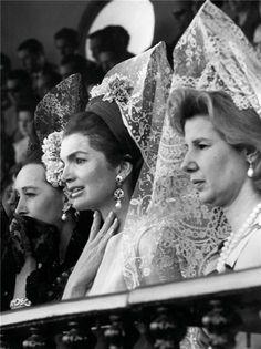 O.S.S./C.I.A. agent Aline, Countess of Romanones, Jackie Kennedy and Cayetana Duchess of Alba in Sevilla, 1966.