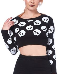 Look at this #zulilyfind! Black & White Skull Crop Sweater by Jawbreaker #zulilyfinds