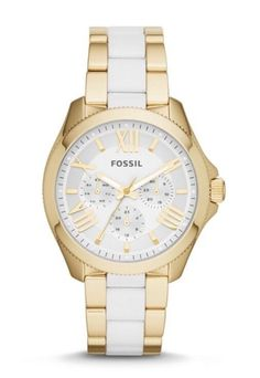Fossil Women's Watch Cecile Multifunction Stainless Steel Gold White AM4545 #Fossil #Casual