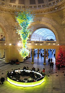 Dale Chihuly Creations:  In 2000, Chihuly's commission from the Victoria and Albert Museum for a 30-foot-high (9.1 m), blown-glass chandelier dominates the museum's main entrance.