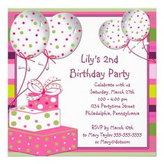 Pink Ballons Girls 2nd Birthday Party 525x525 Square Paper Invitation Card 60th