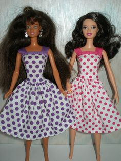 Handmade Barbie clothes - Your Choice - Choose 1 - Purple or Pink dotted dress