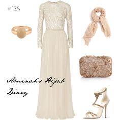 http://aminahshijabdiary.wordpress.com/ #hijab #muslimah #modestfashion #luxury #eliesaab #fashion #outfit #style #look #lookbook #nude #gold #pearl #dress