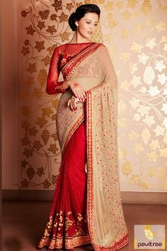 Cream Red Art Silk New Type Designer Saree For Girls