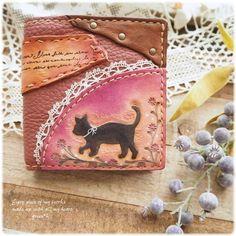 ハンドメイドマーケット+minne(ミンネ)|+*【sold+out】シルエット黒猫ちゃんの2つ折り財布