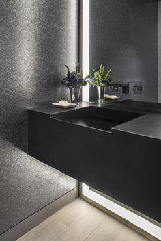 | interior | bathroom | matte black | silver | mirror | concealed lighting…