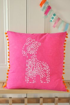 Gerry Pompom Cushion  cover in Pink...