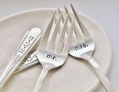 Mr. & Mrs. Vintage Wedding Cake Forks (Matching Set)