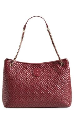 Tory Burch 'Marion' Diamond Quilted Leather Tote in Hudson Blue!  available at #Nordstrom