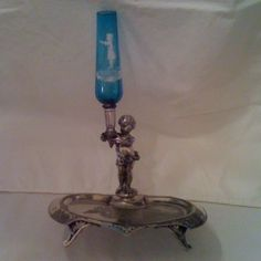 Oh, I just love this..................Antique MARY GREGORY GLASS Victorian Silverplate EPERGNE / CALLING CARD TRAY