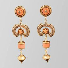 Jan Michaels Coral and Brass Drop Earrings