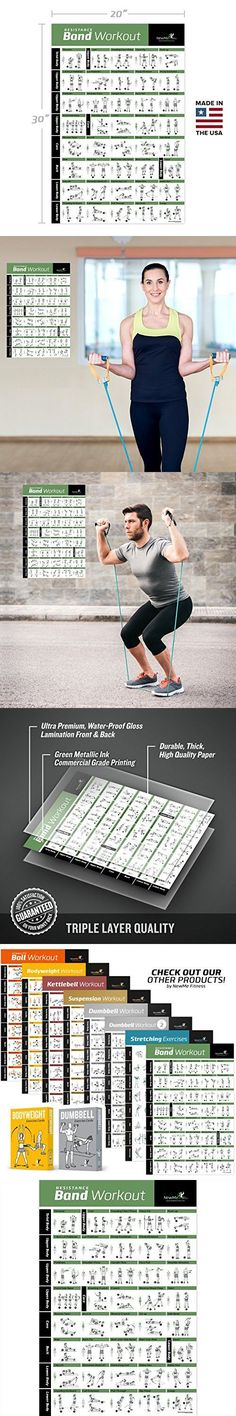 """Resistance Band/Tube Exercise Poster Laminated - Total Body Workout Personal Trainer Fitness Chart - Home Fitness Training Program for Elastic Rubber Tubes and Stretch Band Sets - 20""""x30"""""""