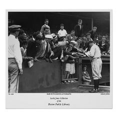 Babe Ruth signing autographs at Fenway Park. Baseball Posters, Boston Public Library, Large Crowd, Babe Ruth, Fenway Park, Boston Red Sox, Wedding Programs, New York Yankees, Old School