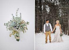bouquet verde, la novia y el novio en la nieve