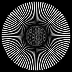 Fractal. Sacred Geometry. Geometría sagrada. Efecto óptico (Mirando fijamente al centro durante medio minuto aparece el arcoiris, al cerrar los ojos se ve movimiento). / Sacred Geometry <3