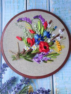 Embroidered flower 3d wall decor Silk ribbon embroidery art embroidery hoop art flower Poppy embroidery 3d flower wallart Wildflower bouquet https://etsy.me/2LmlXph #housewares #homedecor #beige #nursery #green #em
