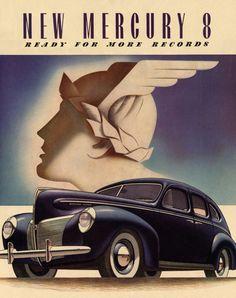 Art Deco Car Posters   Details about Art Deco Poster/Car/New Mercury 8/1940 Ford Mercury-8