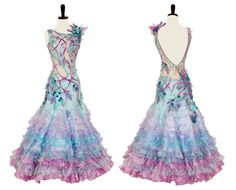 Encore Ballroom Couture pink blue and white modern dress crystal bodice design