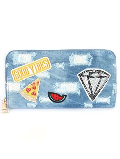 New Zip Around Denim Fabric Good Vibes Patches Clutch Wallet Organizer Retro  #Unbranded #Clutch