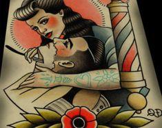 Super Tattoo Old School Rockabilly Art Prints 41 Ideas Trendy Tattoos, New Tattoos, Traditional Tattoo Flash Art, Love Heart Tattoo, Barber Tattoo, Rockabilly Art, Heart Sketch, Filipino Tattoos, Animal Tattoos