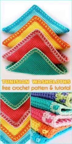 Tunisian Washcloths [Free Crochet Pattern and Tutorial]