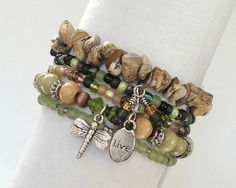"""Stretch Bead Bracelets Set of 5 """"Earthstone"""" from Rivercreek Jewelry - love the choice of materials and personalizing with charms."""