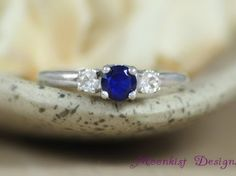 Three Stone Sapphire Engagement Ring in Sterling - Silver Blue Sapphire and White Sapphire Commitment Ring - Past, Present, and Future Ring: