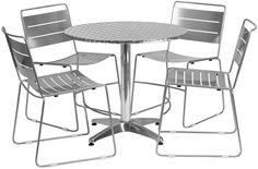 Flash Furniture TLH-ALUM-32RD-HA1SIL4-GG 31.5'' Round Aluminum Indoor-Outdoor Table with 4 Silver Metal Stack Chairs
