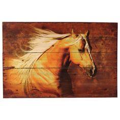 Palomino Horse Wood Panel